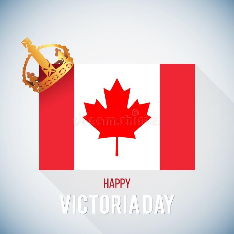 Κάρτα ημέρας Βικτώριας με τη σημαία του Καναδά και την κορώνα, διάνυσμα απεικόνιση αποθεμάτων