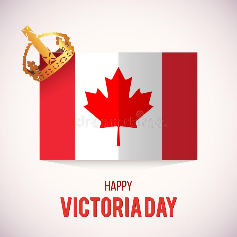 Κάρτα ημέρας Βικτώριας με τη σημαία του Καναδά και την κορώνα, διάνυσμα διανυσματική απεικόνιση