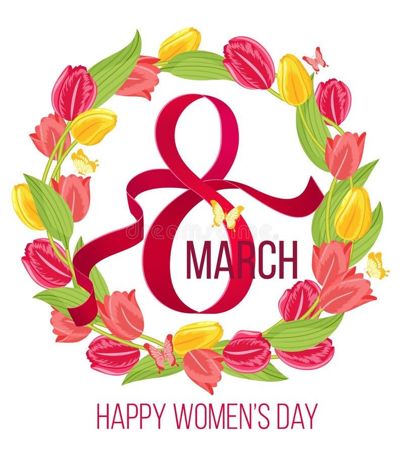Κάρτα ημέρας γυναικών άνοιξη 8 Μαρτίου floral πλαίσιο με τη διανυσματική απεικόνιση τουλιπών ελεύθερη απεικόνιση δικαιώματος