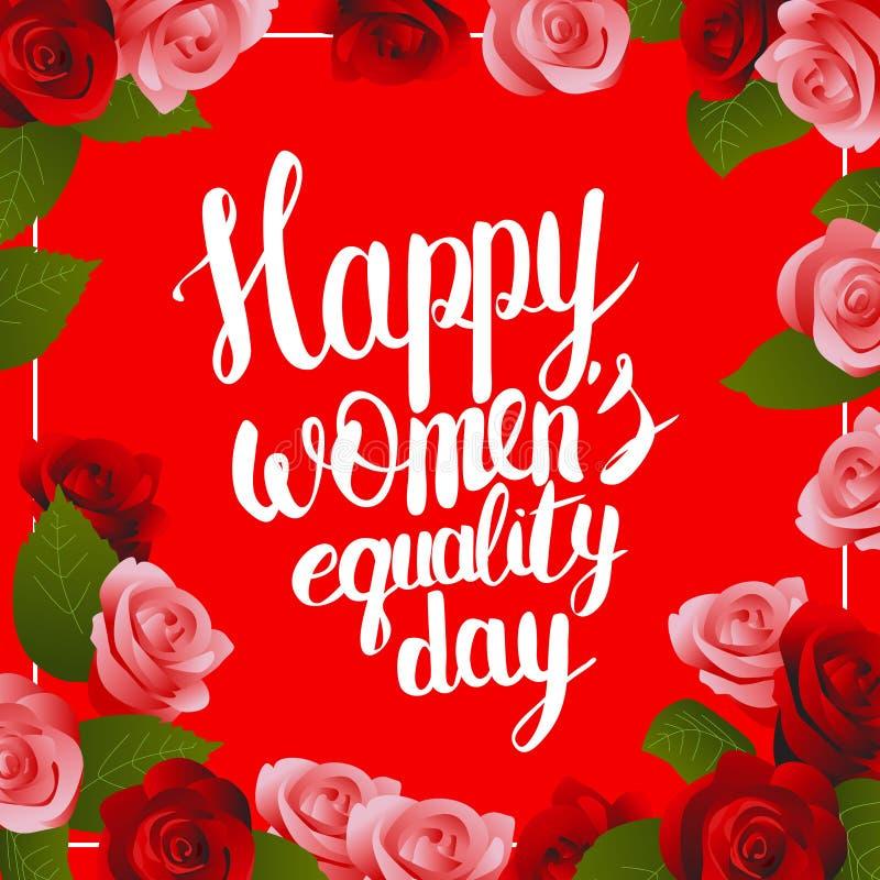 Κάρτα ημέρας ισότητας των ευτυχών γυναικών με την εγγραφή απεικόνιση αποθεμάτων