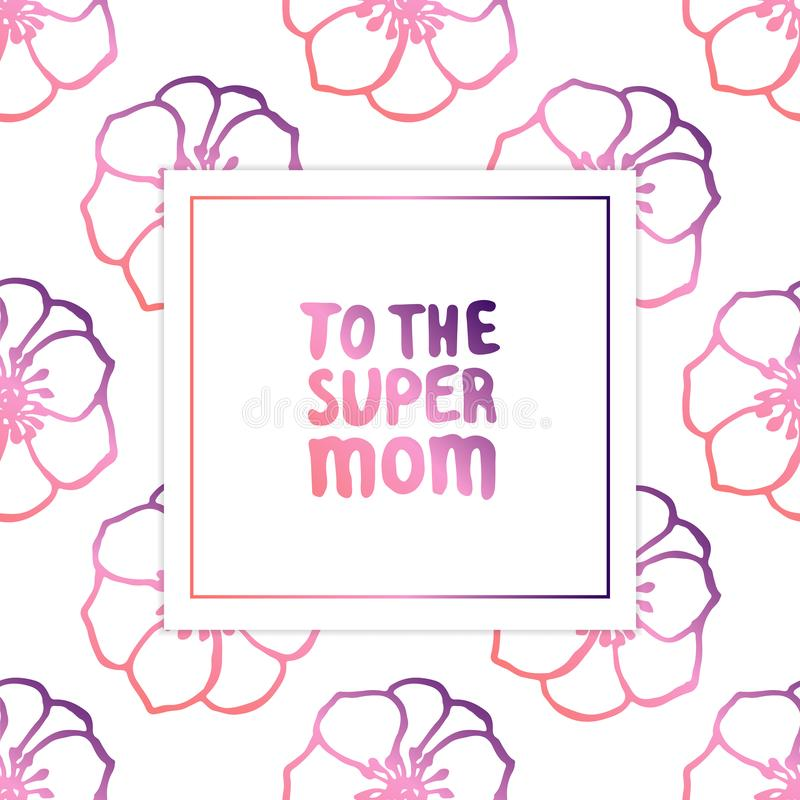 Κάρτα ημέρας μητέρων με το γράφοντας κείμενο και Anemones χεριών απεικόνιση αποθεμάτων