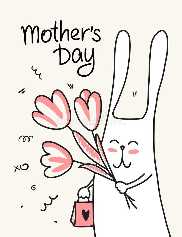 Κάρτα ημέρας μητέρων ` s με το αστείο κουνέλι κινούμενων σχεδίων Επίπεδη ζωική απεικόνιση με το λουλούδι διανυσματική απεικόνιση
