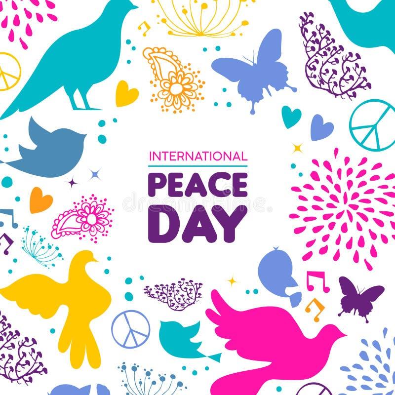 Κάρτα ημέρας παγκόσμιας ειρήνης της διακόσμησης εικονιδίων πουλιών περιστεριών απεικόνιση αποθεμάτων