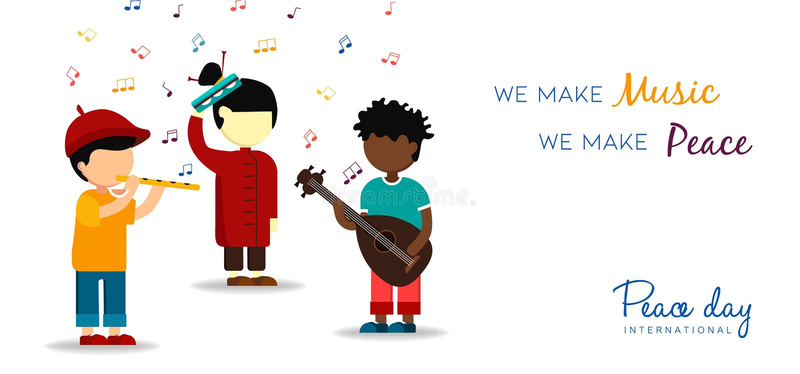 Κάρτα ημέρας παγκόσμιας ειρήνης των παιδιών που κάνουν τη μουσική ελεύθερη απεικόνιση δικαιώματος