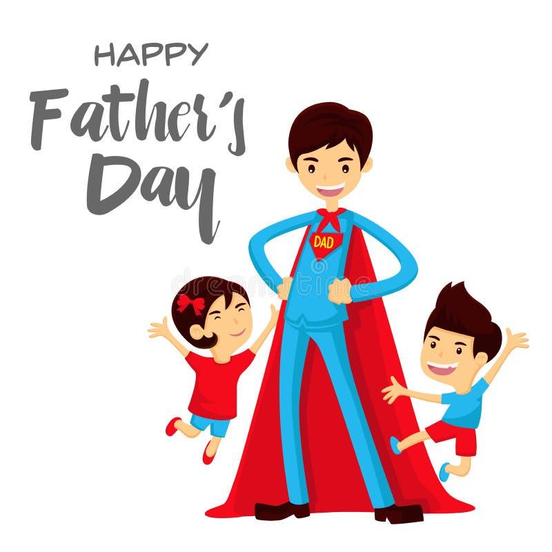 Κάρτα ημέρας του ευτυχούς πατέρα - έξοχος μπαμπάς ηρώων στη διάσωση απεικόνιση αποθεμάτων
