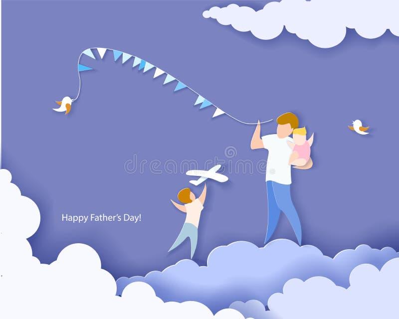Κάρτα ημέρας του ευτυχούς πατέρα το έγγραφο έκοψε το ύφος απεικόνιση αποθεμάτων