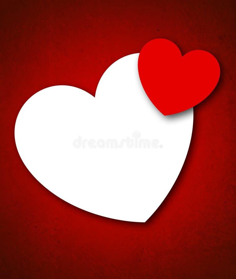 Κάρτα ημέρας του κόκκινου βαλεντίνου με δύο καρδιές απεικόνιση αποθεμάτων