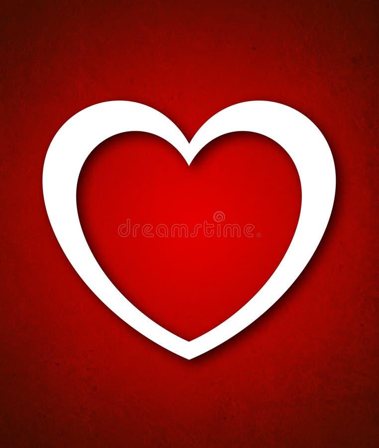 Κάρτα ημέρας του κόκκινου βαλεντίνου με τη μεγάλη άσπρη καρδιά διανυσματική απεικόνιση