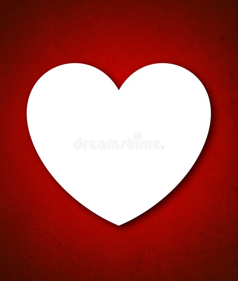 Κάρτα ημέρας του κόκκινου βαλεντίνου με τη μεγάλη άσπρη καρδιά ελεύθερη απεικόνιση δικαιώματος