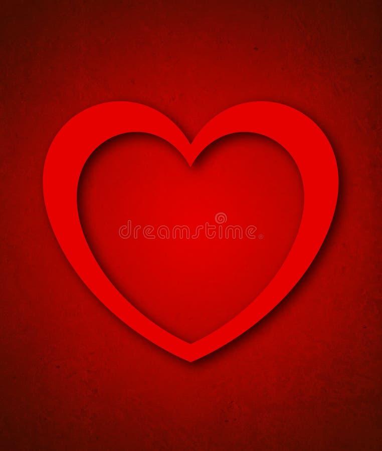 Κάρτα ημέρας του κόκκινου βαλεντίνου με τη μεγάλη κόκκινη καρδιά απεικόνιση αποθεμάτων