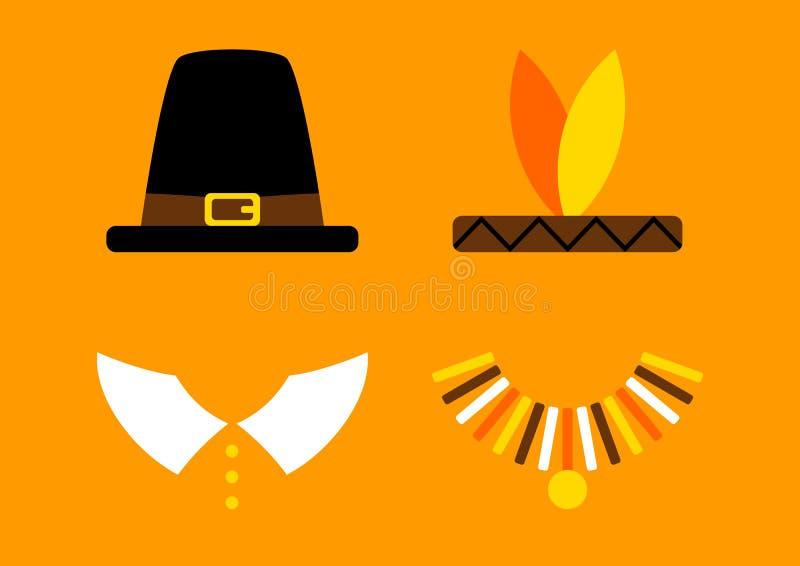 Κάρτα ημέρας των ευχαριστιών με το αφηρημένο πορτοκάλι προσκυνητών και αμερικανών ιθαγενών ελεύθερη απεικόνιση δικαιώματος