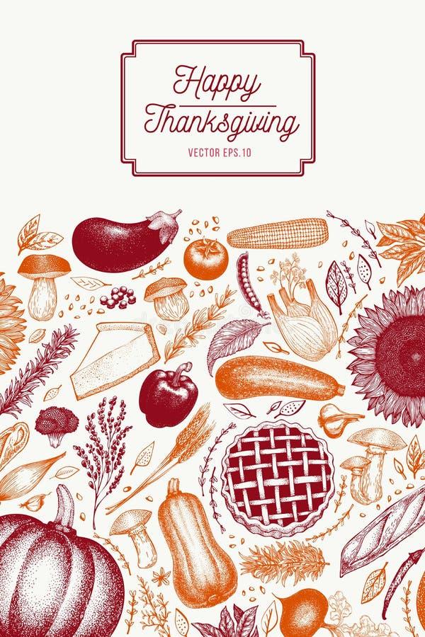 Κάρτα ημέρας των ευχαριστιών χαιρετισμού στο αναδρομικό ύφος Ευτυχές πρότυπο σχεδίου ημέρας των ευχαριστιών Διανυσματικές συρμένε διανυσματική απεικόνιση