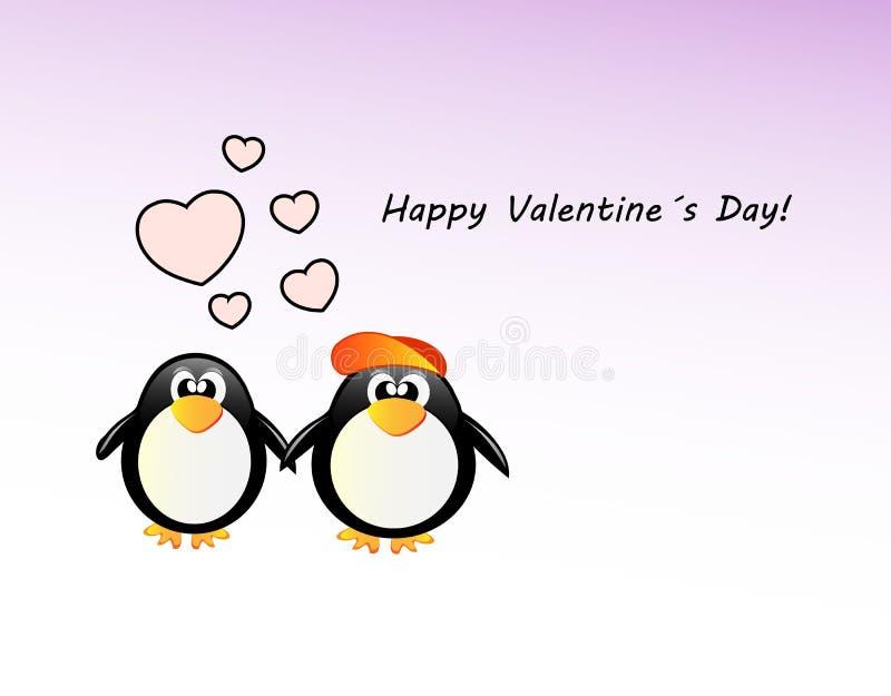 Κάρτα ημέρας των διανυσματικών valentineμε το penguin απεικόνιση αποθεμάτων