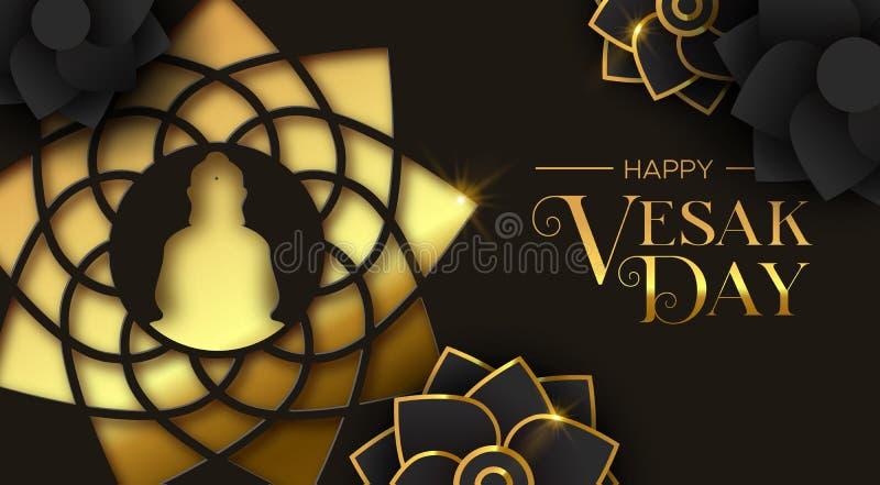 Κάρτα ημέρας Vesak της χρυσής περικοπής Βούδας εγγράφου και του λουλουδιού απεικόνιση αποθεμάτων