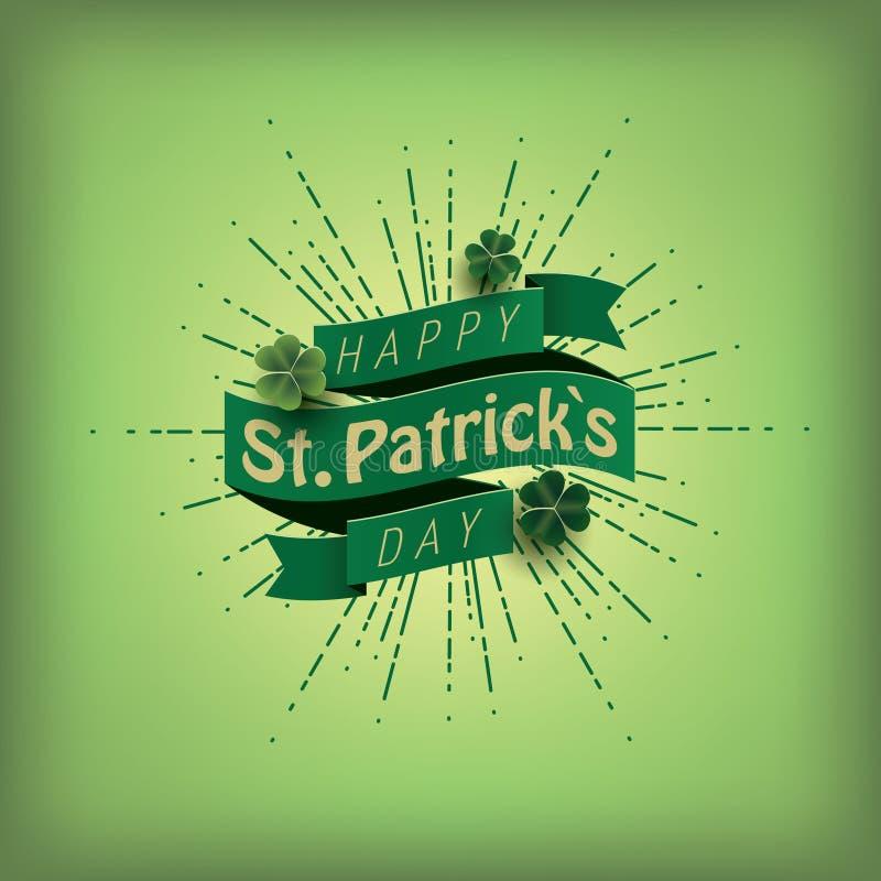 κάρτα ημέρα Πάτρικ s ST Πράσινη κορδέλλα με το κείμενο απεικόνιση αποθεμάτων