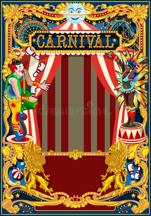 Κάρτα θέματος τσίρκων αφισών καρναβαλιού διανυσματική απεικόνιση