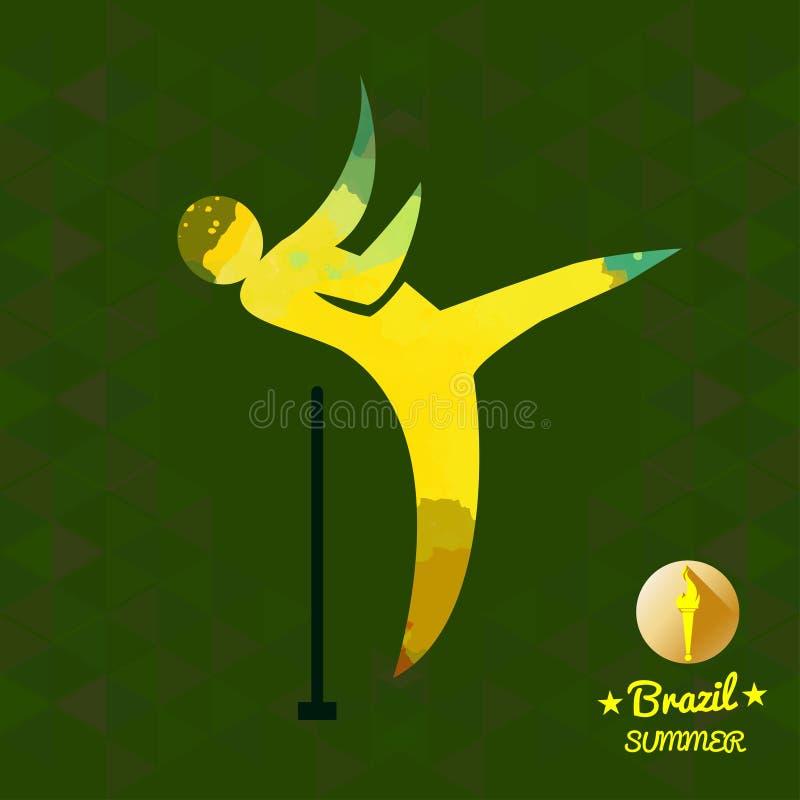 Κάρτα θερινού αθλητισμού της Βραζιλίας με κίτρινο αφηρημένο thrower σφυριών διανυσματική απεικόνιση