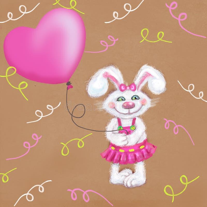 Κάρτα διακοπών με το χαριτωμένο άσπρο χνουδωτό λαγουδάκι και ροζ μπαλόνι σε ένα εορταστικό υπόβαθρο διανυσματική απεικόνιση