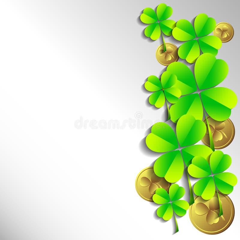 Κάρτα διακοπών την ημέρα του ST Πάτρικ 17 Μαρτίου - ημέρα της καλής τύχης, τυχερά τριφύλλια και leprechauns ελεύθερη απεικόνιση δικαιώματος