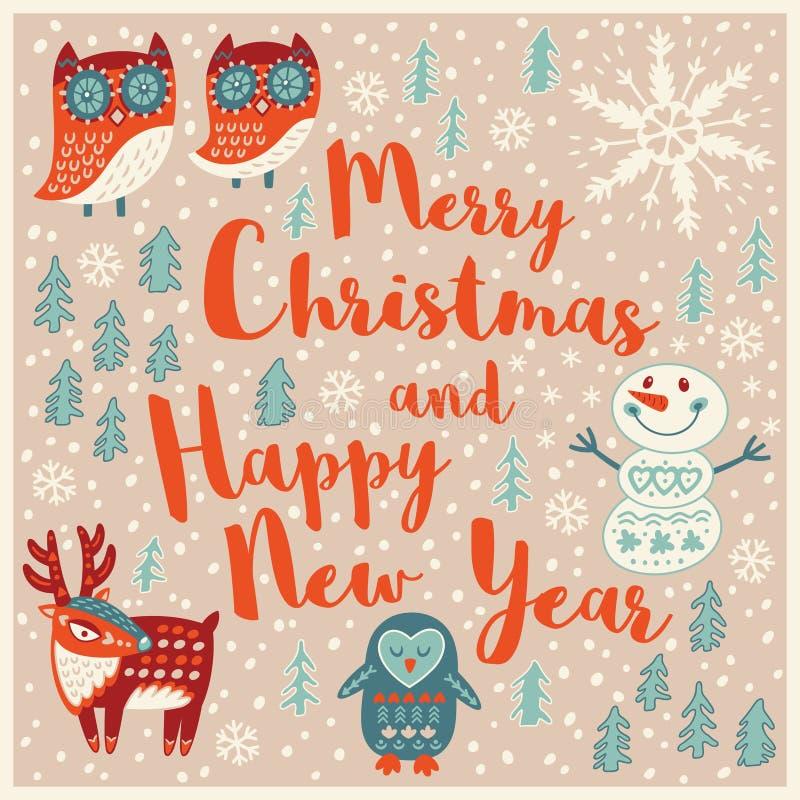 Κάρτα διακοπών χαιρετισμού με τις κουκουβάγιες, χιονάνθρωπος, ελάφια και penguin διανυσματική απεικόνιση