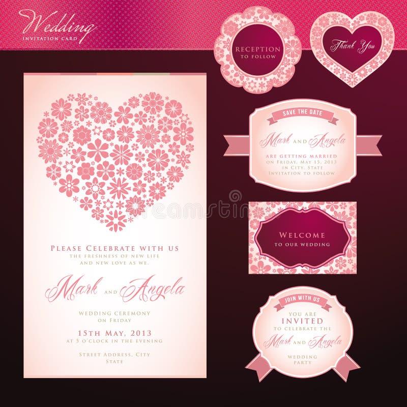 Κάρτα και στοιχεία γαμήλιας πρόσκλησης διανυσματική απεικόνιση