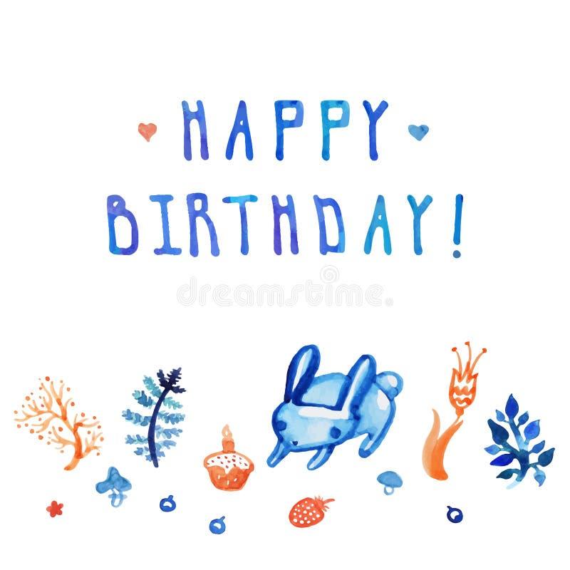 Κάρτα και υπόβαθρο Watercolor χρόνια πολλά με το λαγουδάκι, το κέικ, τις εγκαταστάσεις και το λουλούδι με το χειρόγραφο κείμενο ελεύθερη απεικόνιση δικαιώματος