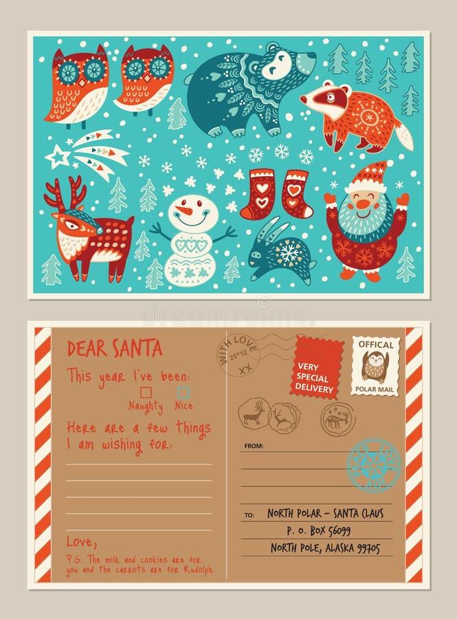 Κάρτα και φάκελος διακοπών Χριστουγέννων με τα χαριτωμένα γραμματόσημα ελεύθερη απεικόνιση δικαιώματος