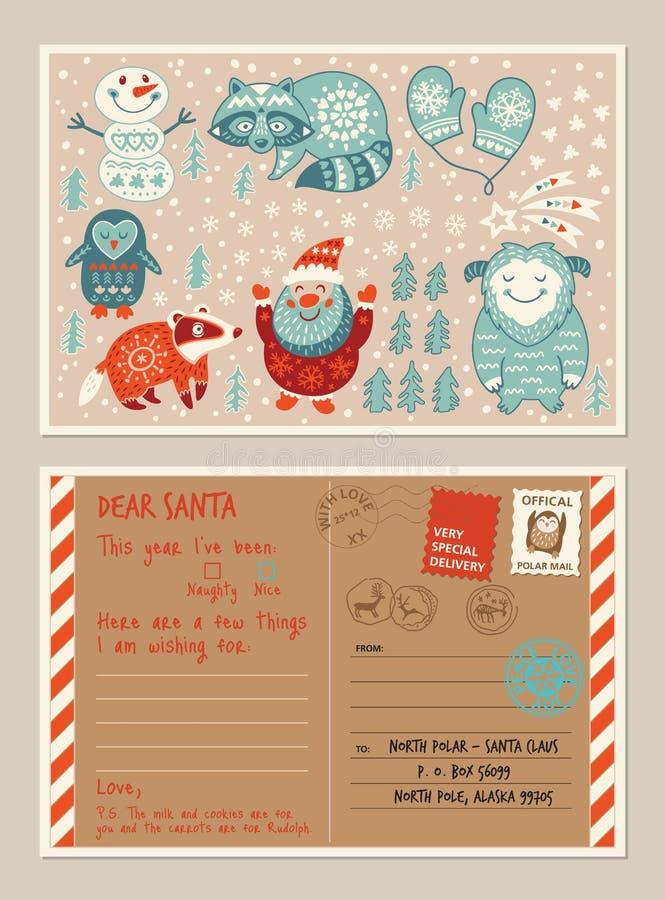 Κάρτα και φάκελος διακοπών Χριστουγέννων με τα χαριτωμένα γραμματόσημα διανυσματική απεικόνιση