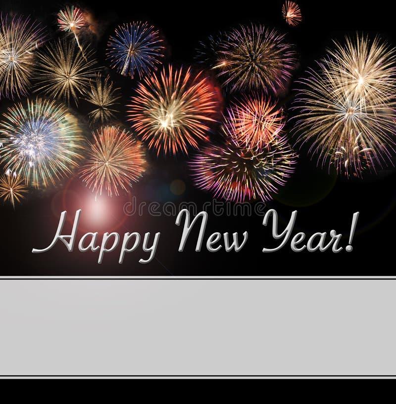 Κάρτα καλής χρονιάς και έμβλημα Ιστού με τα πυροτεχνήματα στοκ εικόνα με δικαίωμα ελεύθερης χρήσης