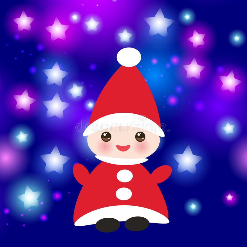 Κάρτα καλής χρονιάς Kawaii, αστείο στοιχειό στα κόκκινα καπέλα στο μπλε υπόβαθρο με τα αστέρια διάνυσμα ελεύθερη απεικόνιση δικαιώματος