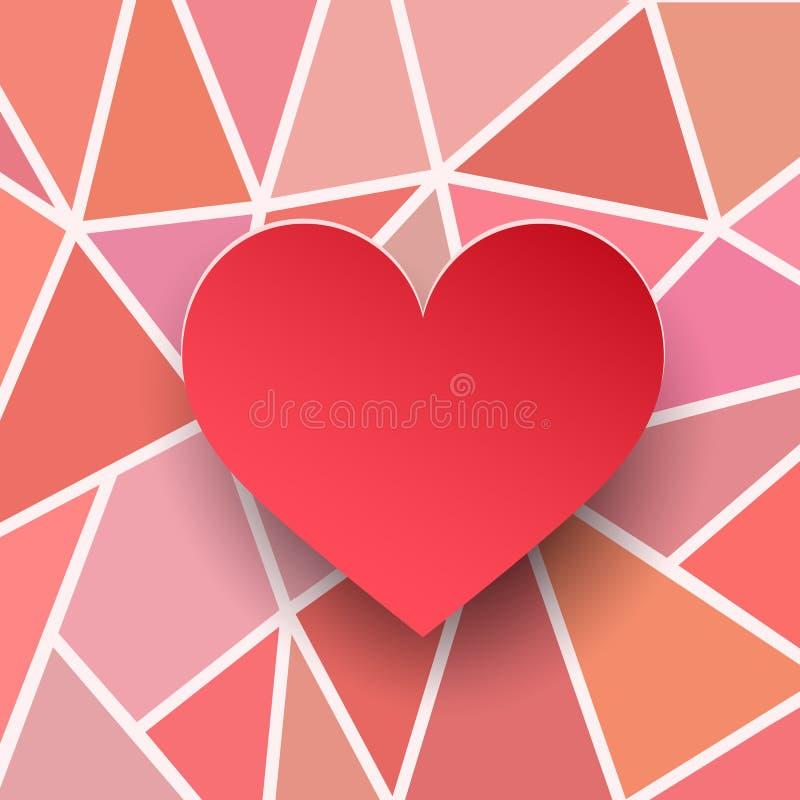 Κάρτα καρδιών βαλεντίνων Σύσταση εγγράφου τρισδιάστατη Κόκκινη καρδιά στα αφηρημένα γεωμετρικά υπόβαθρα διανυσματική απεικόνιση