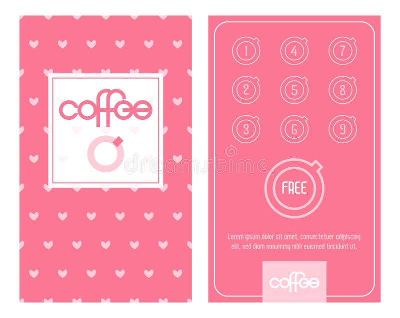 Κάρτα καφέ πίστης Πρότυπο με τις χαριτωμένες μικρές ρόδινες καρδιές διανυσματική απεικόνιση