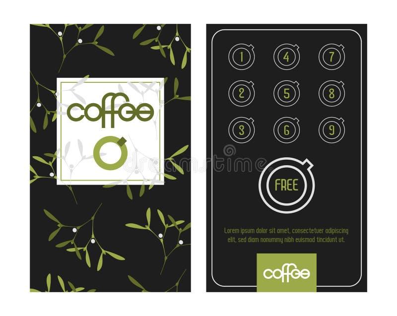 Κάρτα καφέ πίστης Πρότυπο στη διάθεση Χριστουγέννων με τα γκι στοκ φωτογραφία με δικαίωμα ελεύθερης χρήσης
