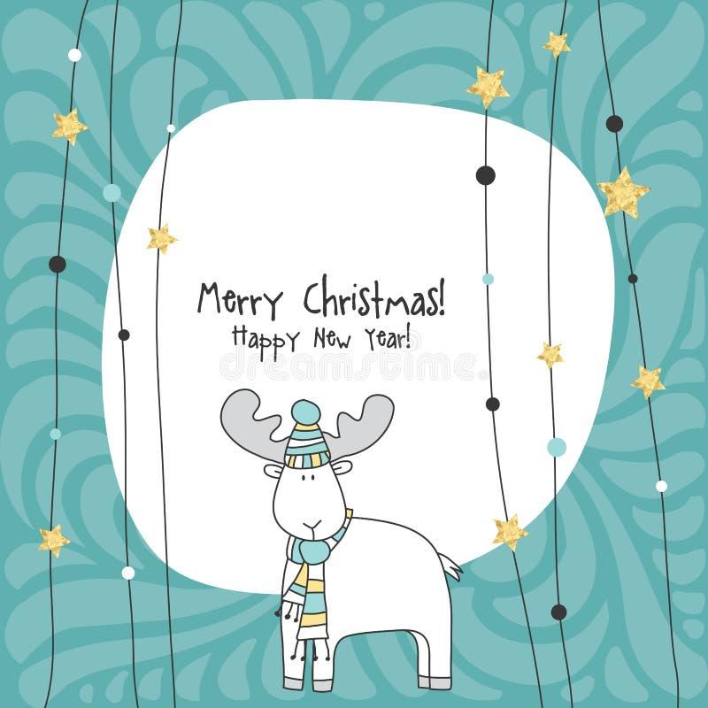 κάρτα καλή χρονιά ουρανός santa του Klaus παγετού Χριστουγέννων καρτών τσαντών απεικόνιση αποθεμάτων
