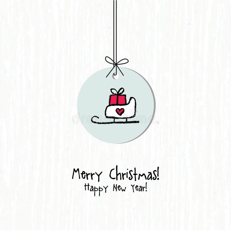 κάρτα καλή χρονιά ουρανός santa του Klaus παγετού Χριστουγέννων καρτών τσαντών διανυσματική απεικόνιση