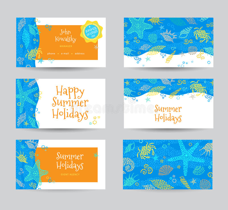 Κάρτα καλοκαιρινών διακοπών με τα στοιχεία θάλασσας ελεύθερη απεικόνιση δικαιώματος