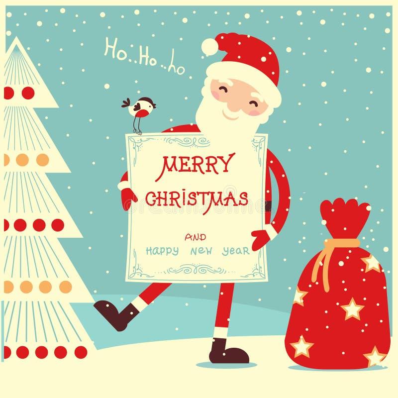 Κάρτα Καλών Χριστουγέννων με Άγιο Βασίλη απεικόνιση αποθεμάτων