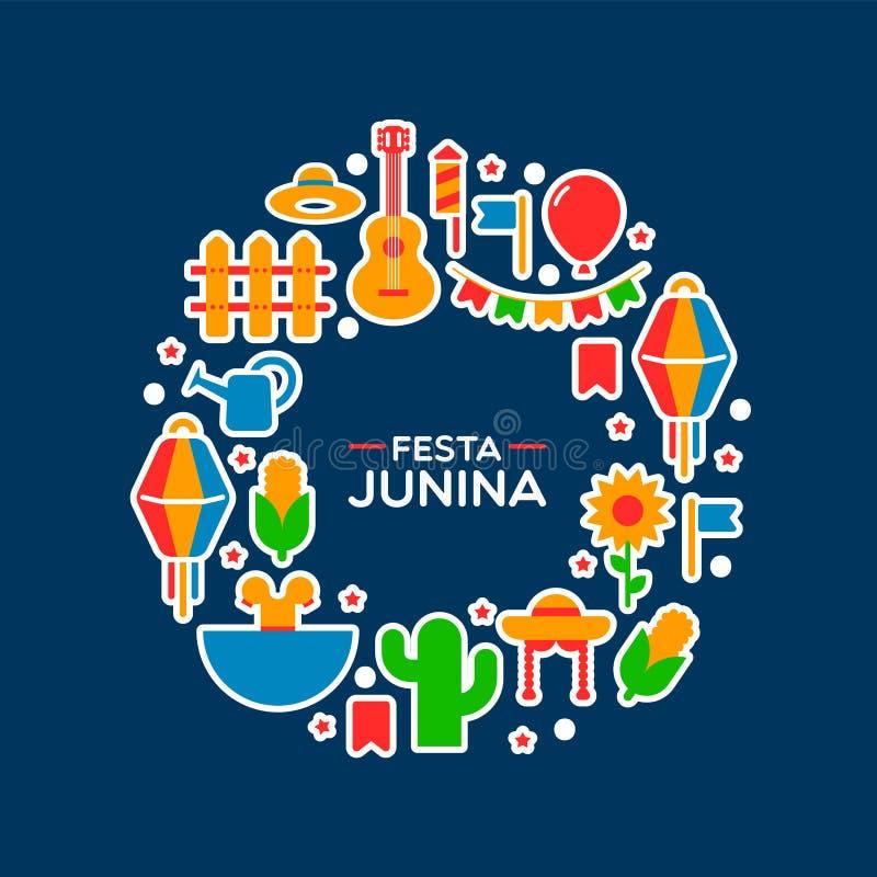 Κάρτα κινούμενων σχεδίων διακοσμήσεων κομμάτων Junina Festa διανυσματική απεικόνιση