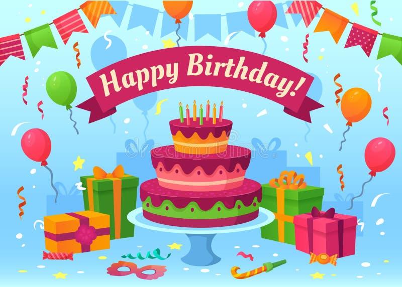 Κάρτα κινούμενων σχεδίων χρόνια πολλά Δώρα εορτασμού, σημαίες και μπαλόνια γενεθλίων Διάνυσμα ευχετήριων καρτών κομφετί πετάγματο ελεύθερη απεικόνιση δικαιώματος