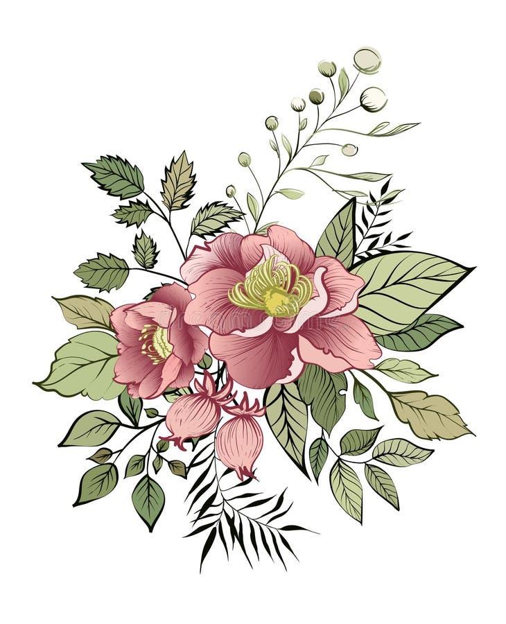 κάρτα κομψή Διακοσμητική ανθοδέσμη άνοιξη των λουλουδιών Μια μικρή γιρλάντα λουλουδιών ελεύθερη απεικόνιση δικαιώματος