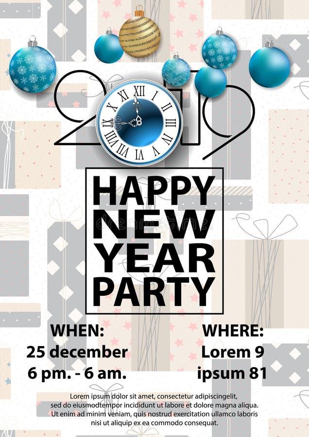 Κάρτα κόμματος 2019 καλής χρονιάς για το σχέδιό σας ελεύθερη απεικόνιση δικαιώματος