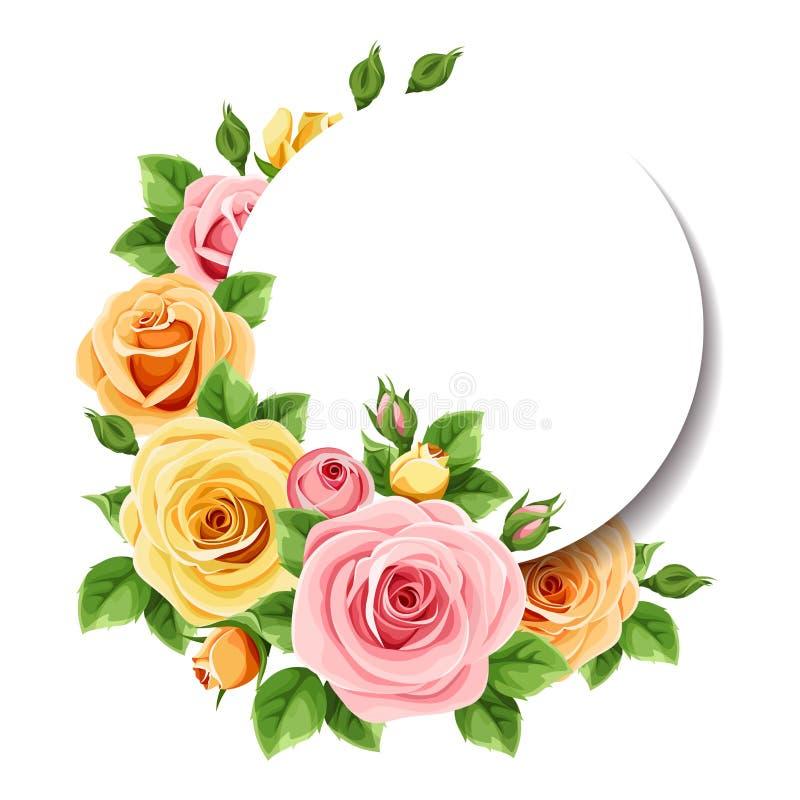 Κάρτα κύκλων με τα ζωηρόχρωμα τριαντάφυλλα r ελεύθερη απεικόνιση δικαιώματος