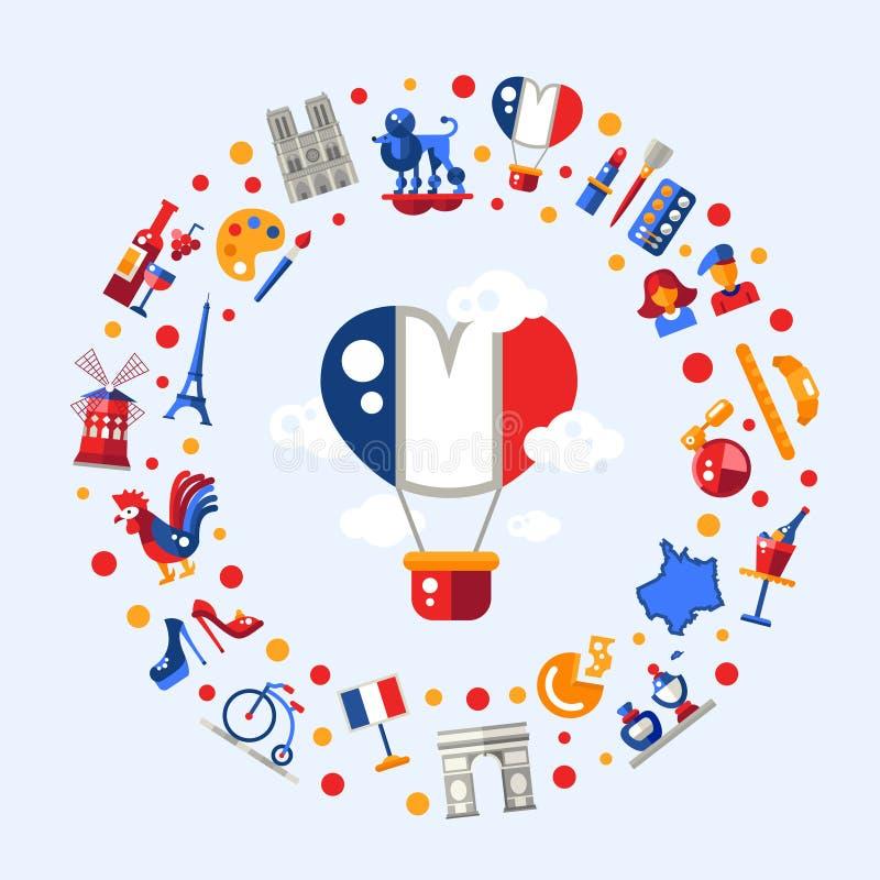 Κάρτα κύκλων εικονιδίων ταξιδιού της Γαλλίας με τα διάσημα γαλλικά σύμβολα διανυσματική απεικόνιση