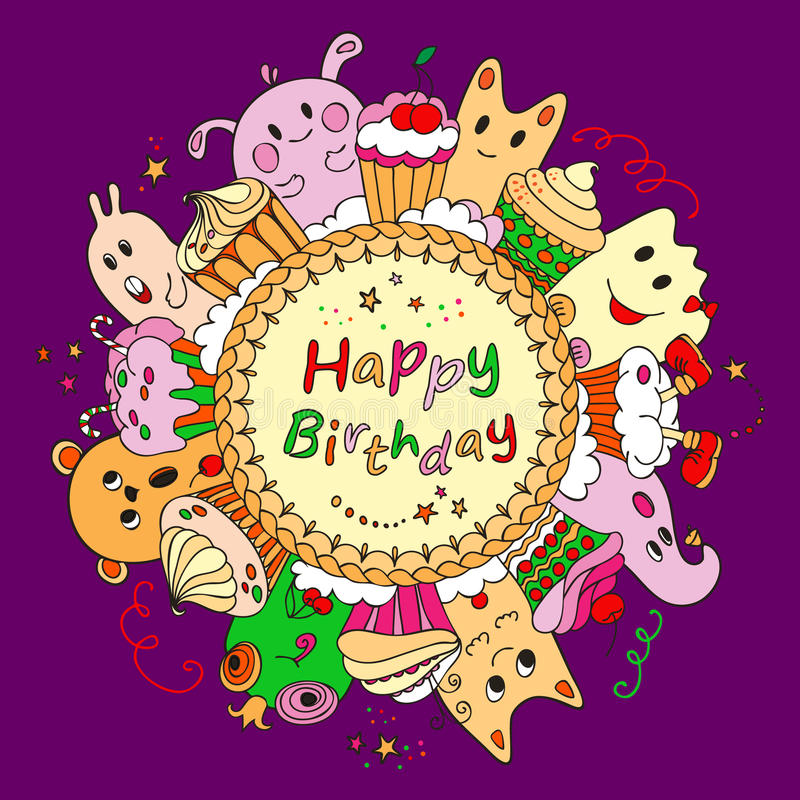 Κάρτα κύκλων με τα κέικ και τα ζώα ελεύθερη απεικόνιση δικαιώματος