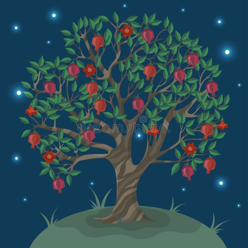 Κάρτα με ένα δέντρο ganat ενάντια στο νυχτερινό ουρανό r απεικόνιση αποθεμάτων