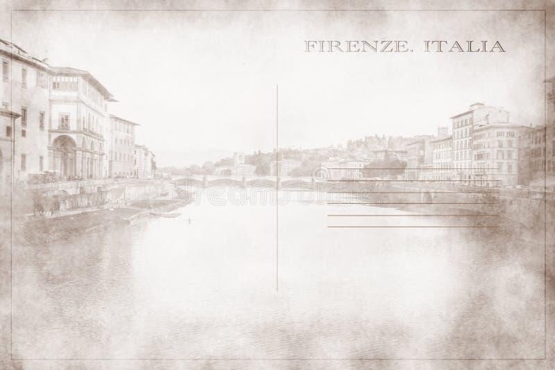 Κάρτα με μια φωτογραφία μιας άποψης του ποταμού Arno όπως αυτό χορευτικό βήμα στοκ εικόνες