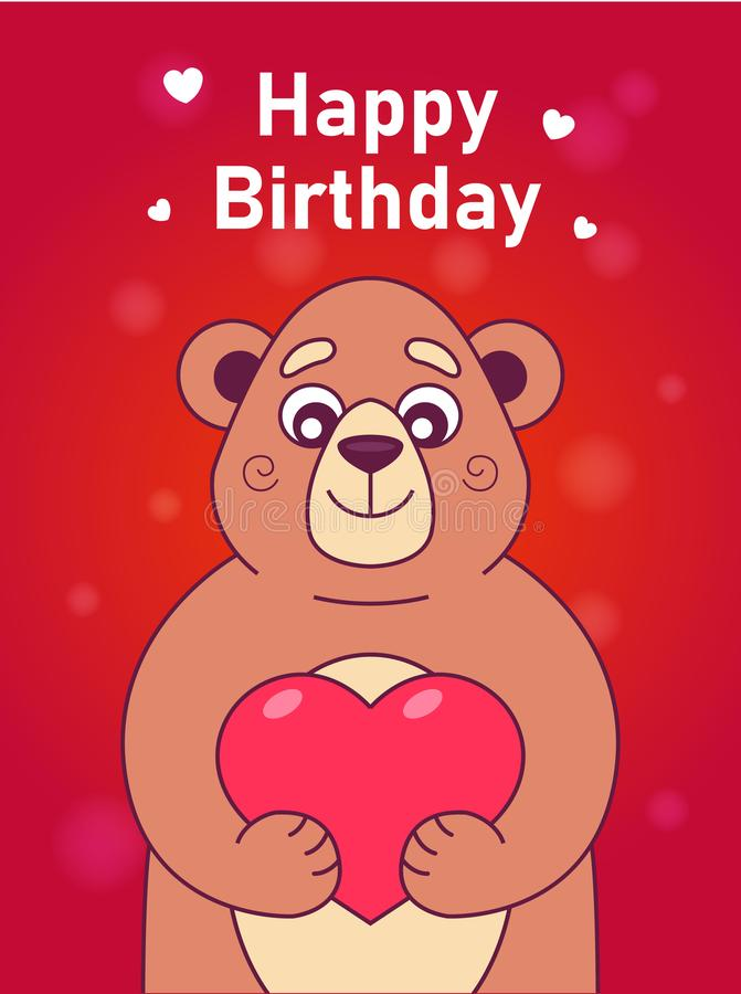 Κάρτα με μια χαριτωμένη αρκούδα ελεύθερη απεικόνιση δικαιώματος