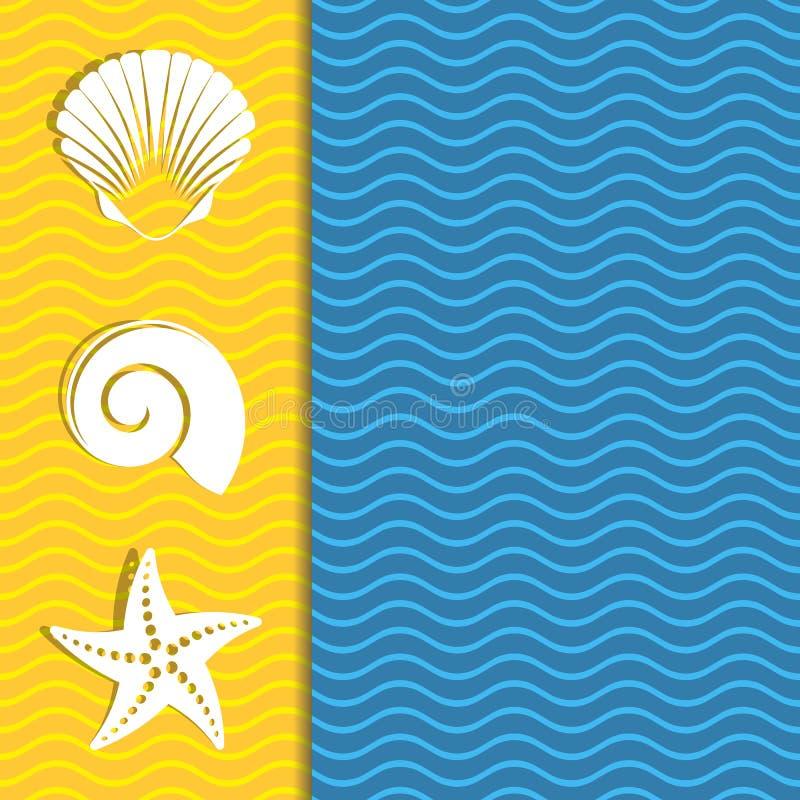 Κάρτα με τα εικονίδια θάλασσας ελεύθερη απεικόνιση δικαιώματος