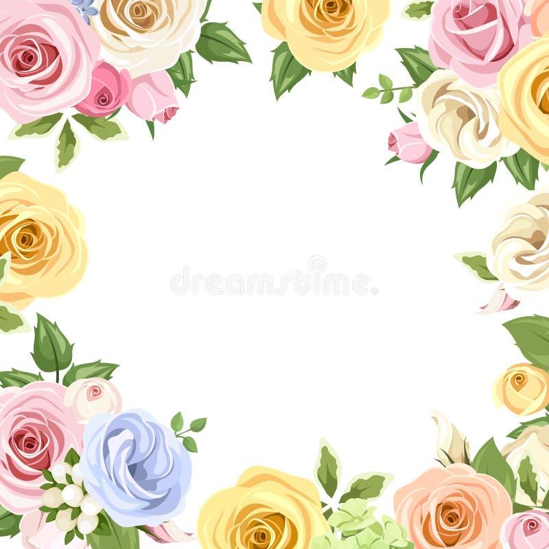 Κάρτα με τα ζωηρόχρωμα τριαντάφυλλα και τα λουλούδια lisianthus Διάνυσμα eps-10 διανυσματική απεικόνιση