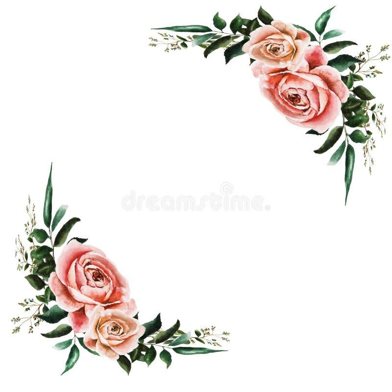 Κάρτα με τα τριαντάφυλλα διανυσματική απεικόνιση